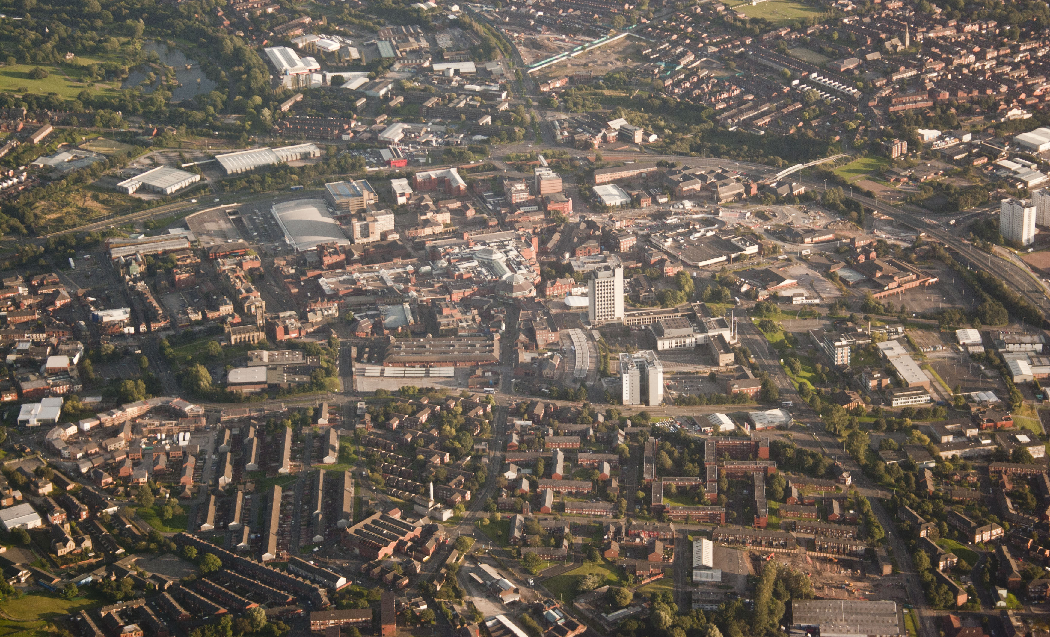 an image of Oldham town centre from the sky